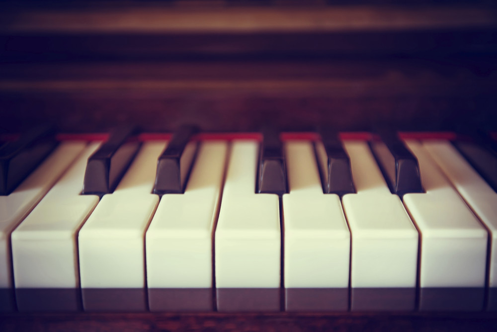 Vintage piano keyboard closeup